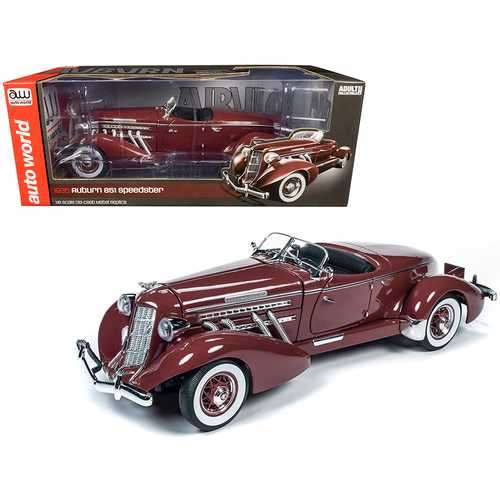 1935 Auburn 851 Speedster Plum Burgundy 1/18 Diecast Model Car by Autoworld
