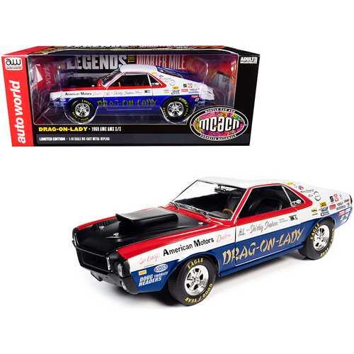 """1969 AMC AMX S/S """"Drag-on-Lady"""" """"Legends of the Quarter Mile"""" MCACN (Muscle Car & Corvette Nationals) 1/18 Diecast Model Car by Autoworld"""
