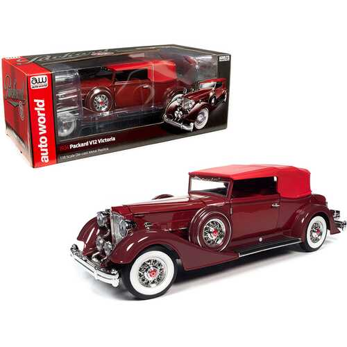 1934 Packard V12 Victoria Burgundy with Red Soft Top and Red Interior 1/18 Diecast Model Car by Autoworld