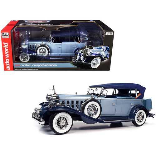 1932 Cadillac V16 Sports Phaeton Metallic Light Silver Blue and Enamel Dark Blue 1/18 Diecast Model Car by Autoworld