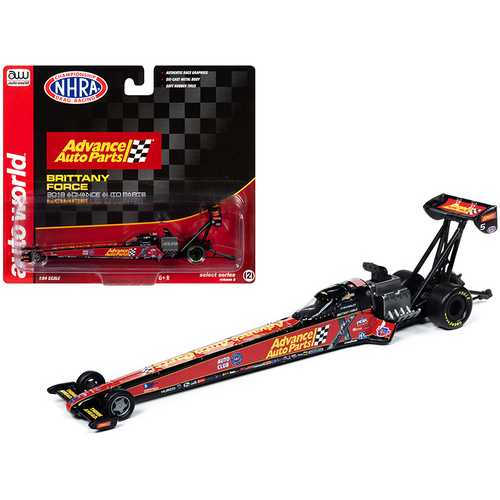 "2019 NHRA TFD (Top Fuel Dragster) Brittany Force ""Advance Auto Parts"" 1/64 Diecast Model Car by Autoworld"