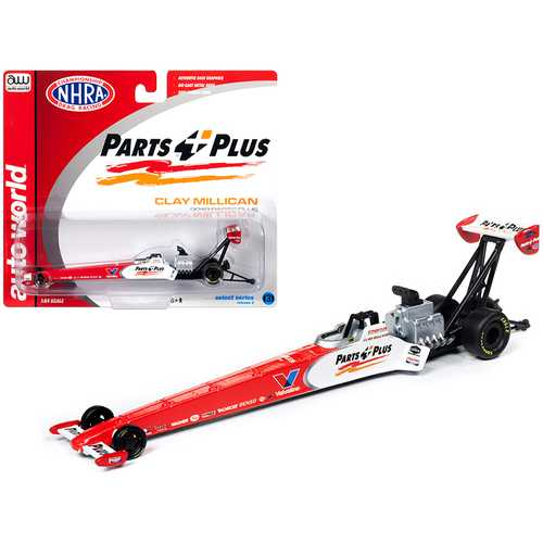 "2019 NHRA TFD (Top Fuel Dragster) Clay Millican ""Parts Plus"" 1/64 Diecast Model Car by Autoworld"