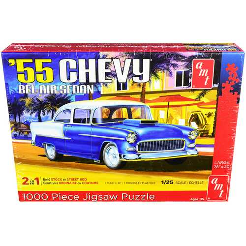Jigsaw Puzzle 1955 Chevrolet Bel Air Sedan MODEL BOX PUZZLE (1000 piece) by AMT