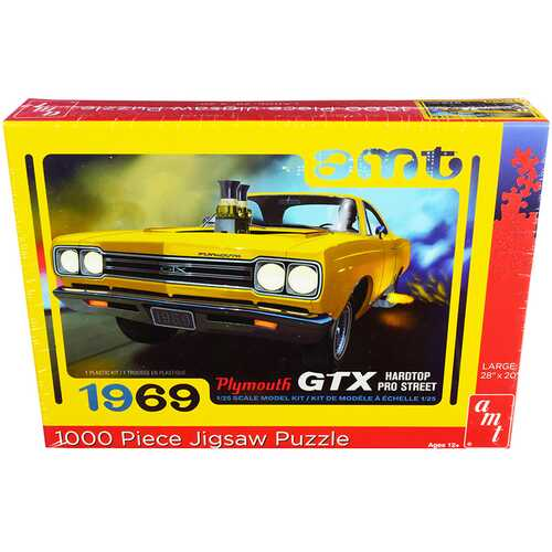 Jigsaw Puzzle 1969 Plymouth GTX Hardtop Pro Street MODEL BOX PUZZLE (1000 piece) by AMT