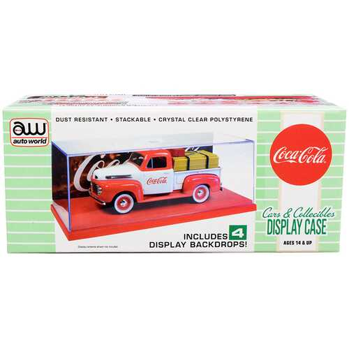 "Collectible Acrylic Display Show Case with Red Plastic Base and 4 ""Coca-Cola"" Display Backdrops for 1/43 Scale Model Cars by Autoworld"