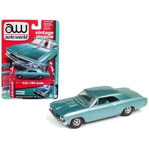 1966 Chevrolet Chevelle SS Artesian Turquoise Limited Edition to 2,016 pieces Worldwide 1/64 Diecast Model Car by Autoworld