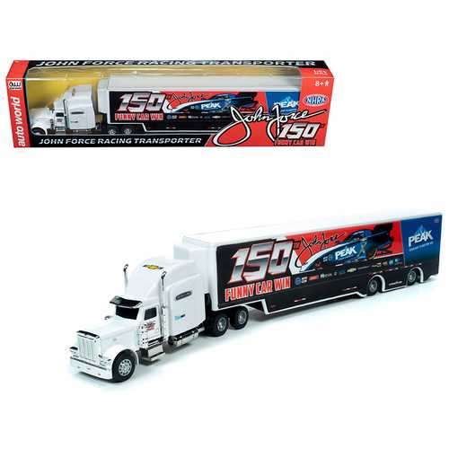 "2019 Freightliner with Trailer ""John Force 150th Funny Car Win"" Transporter 1/64 Diecast Model by Autoworld"