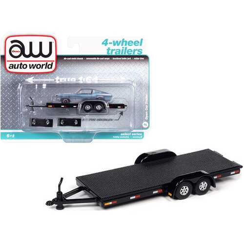 4-Wheel Open Car Trailer Black 1/64 Diecast Model by Autoworld