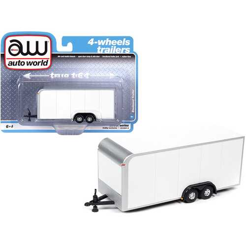 4-Wheel Enclosed Car Trailer White 1/64 Diecast Model by Autoworld