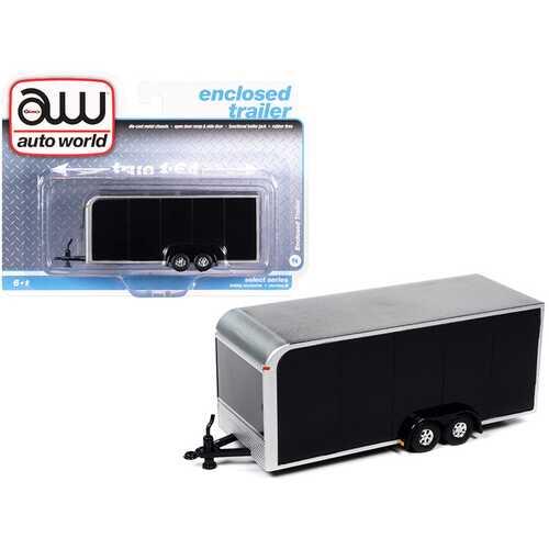 4-Wheel Enclosed Car Trailer Black 1/64 Diecast Model by Autoworld