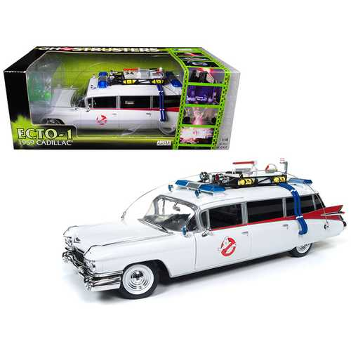 "1959 Cadillac Ambulance Ecto-1 From ""Ghostbusters 1\"" Movie 1/18 Diecast Model Car by Autoworld"