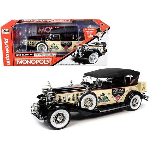 1932 Cadillac V16 Sport Phaeton Convertible and Mr. Monopoly Resin Figurine 1/18 Diecast Model Car by Autoworld