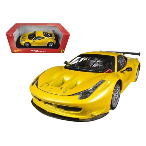 Ferrari 458 Italia GT2 Yellow 1/18 Diecast Car Model by Hotwheels