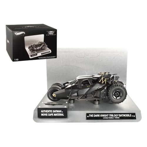 """Elite """"The Dark Knight"""" Trilogy Batmobile With Authentic Movie Batman Cape Material 1/18 Diecast Model by Hotwheels"""