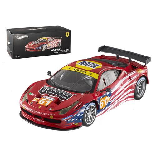 Elite Ferrari 458 Italia GT2 #61 LM 2012 AF Corse 1/18 Diecast Car Model by Hotwheels