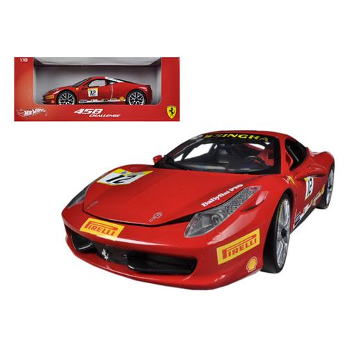 Ferrari 458 Challenge Red #12 1/18 Diecast Car Model by Hotwheels