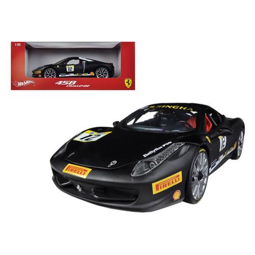 Ferrari 458 Challenge Matt Black #12 1/18 Diecast Car Model by Hotwheels