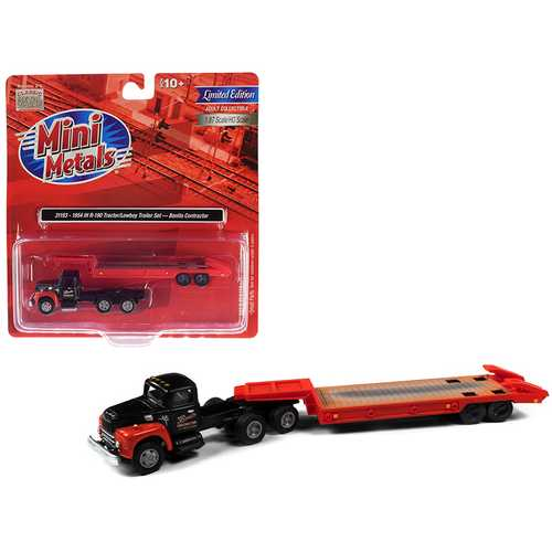 """1954 IH R-190 Tractor Truck with Lowboy Trailer """"Bonito Contractor"""" Black and Red 1/87 (HO) Scale Model by Classic Metal Works"""
