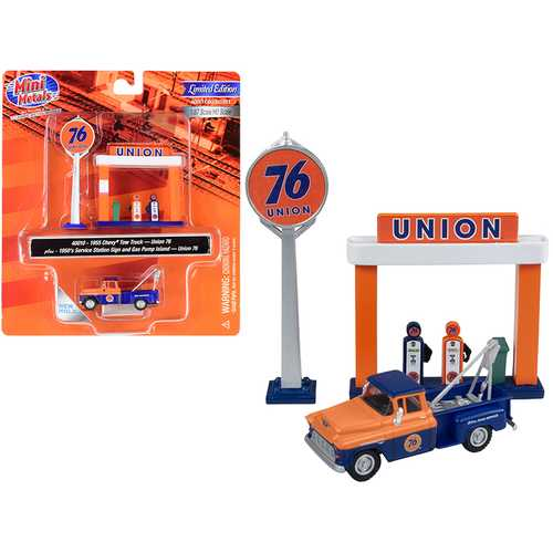"""1955 Chevrolet Tow Truck Blue and Orange with 1950's Service Station Sign and Gas Pump Island """"Union 76"""" 1/87 (HO) Scale Model by Classic Metal Works"""