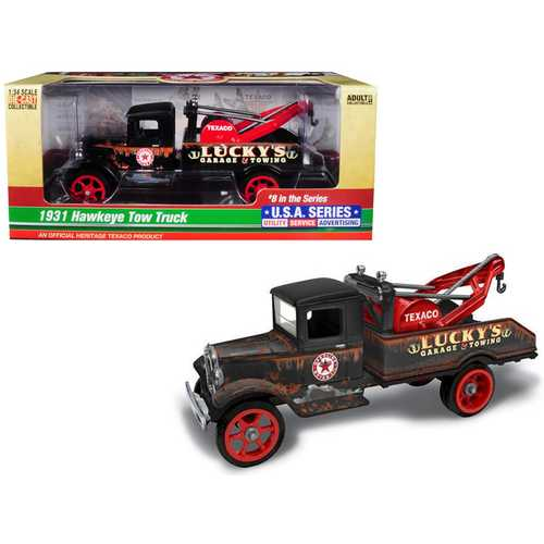 "1931 Hawkeye ""Texaco"" Tow Truck ""Lucky's Garage & Towing"" Unrestored 8th in the Series ""U.S.A. Series Utility - Service - Advertising"" 1/34 Diecast Model by Autoworld"