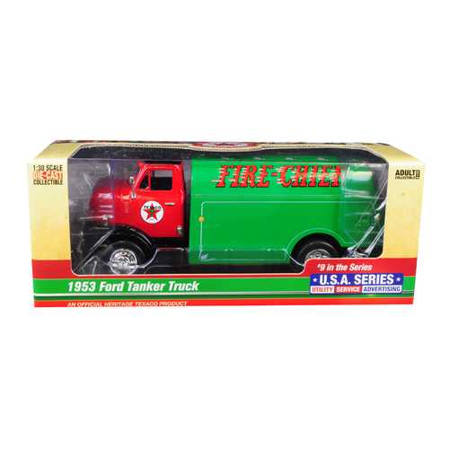 """1953 Ford Tanker Truck """"Texaco"""" """"Fire-Chief"""" 9th in the Series """"U.S.A. Series Utility - Service - Advertising"""" 1/30 Diecast Model by Autoworld"""
