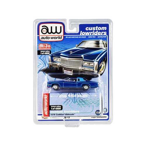 "1975 Cadillac Eldorado Dark Blue Metallic with Light Blue (Partial) Vinyl Top ""Custom Lowriders"" Limited Edition to 4800 pieces Worldwide 1/64 Diecast Model Car by Autoworld"