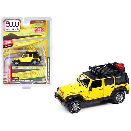 2018 Jeep Wrangler Rubicon Unlimited 4x4 Yellow and Black with Roof Rack Limited Edition to 3600 pieces Worldwide 1/64 Diecast Model Car by Autoworld