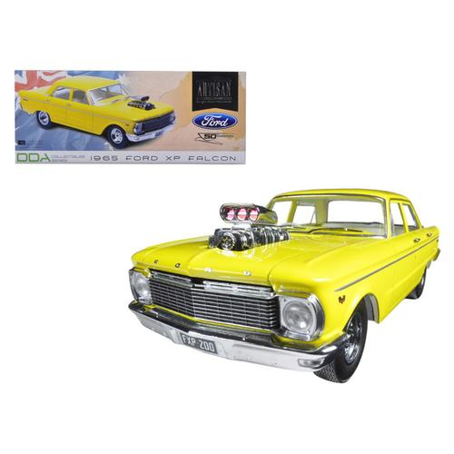 1965 Ford XP Falcon Yellow 50th Anniversary Limited Edition with Engine Blower 1/18 Diecast Model Car by Greenlight