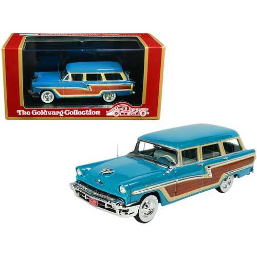 1956 Mercury Monterey Station Wagon Lauderdale Blue with Wood Paneling Limited Edition to 220 pieces Worldwide 1/43 Model Car by Goldvarg Collection