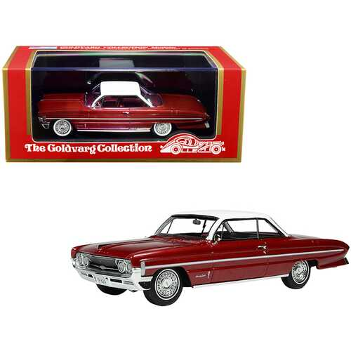 """1961 Oldsmobile """"Bubble Top"""" Red Metallic with White Top Limited Edition to 235 pieces Worldwide 1/43 Model Car by Goldvarg Collection"""