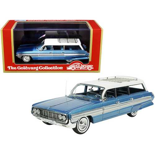 1962 Oldsmobile Dynamic Fiesta Wagon with Roof Rack Wedgewood Blue Metallic with White Top Limited Edition to 250 pieces Worldwide 1/43 Model Car by Goldvarg Collection