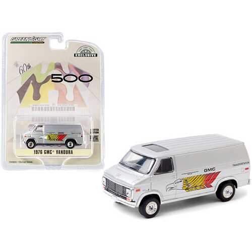 "1976 GMC Vandura Silver ""GMC Transportation"" 60th Annual Indianapolis 500 Mile Race ""Hobby Exclusive"" 1/64 Diecast Model Car by Greenlight"