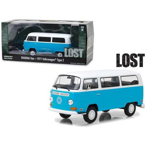 "1971 Volkswagen Type 2 (T2B) Dharma Van Blue with White Top ""Lost"" (2004-2010) TV Series 1/24 Diecast Model by Greenlight"