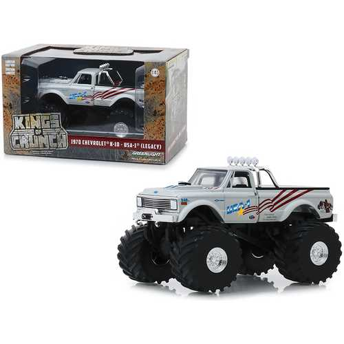 """1970 Chevrolet K-10 Monster Truck USA-1 (Legacy) White with 66-Inch Tires """"Kings of Crunch"""" 1/43 Diecast Model Car by Greenlight"""