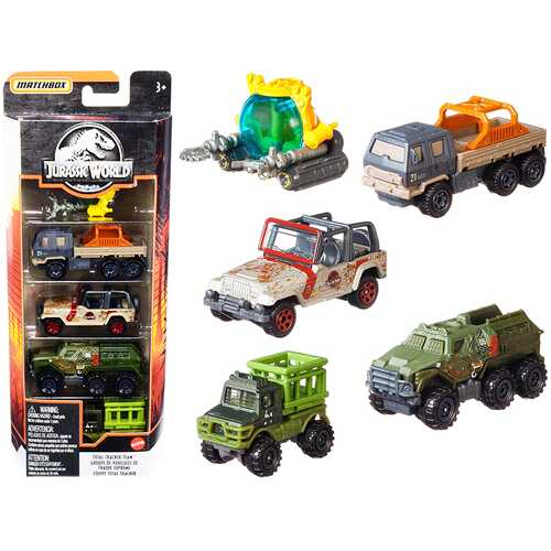 """""""Jurassic World"""" Total Tracker Team Set of 5 pieces Diecast Model Cars by Matchbox"""