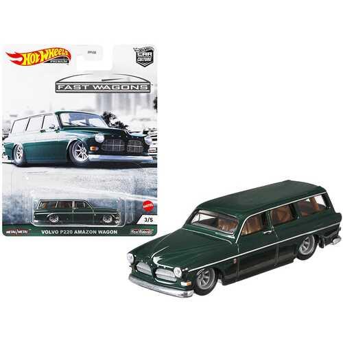 "Volvo P220 Amazon Wagon Dark Green ""Fast Wagons"" Series Diecast Model Car by Hot Wheels"