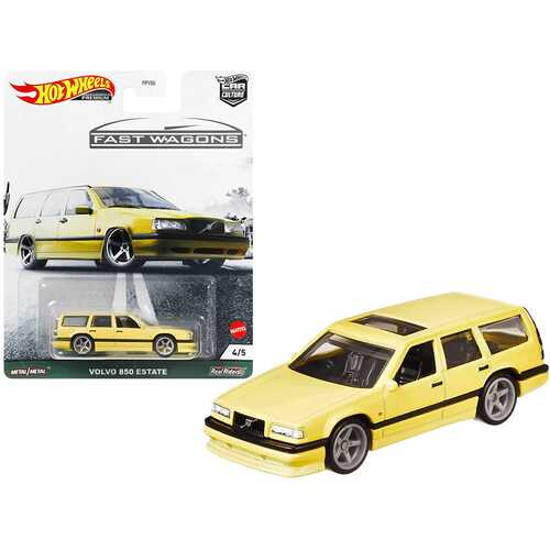 """Volvo 850 Estate RHD (Right Hand Drive) with Sunroof Light Yellow """"Fast Wagons"""" Series Diecast Model Car by Hot Wheels"""