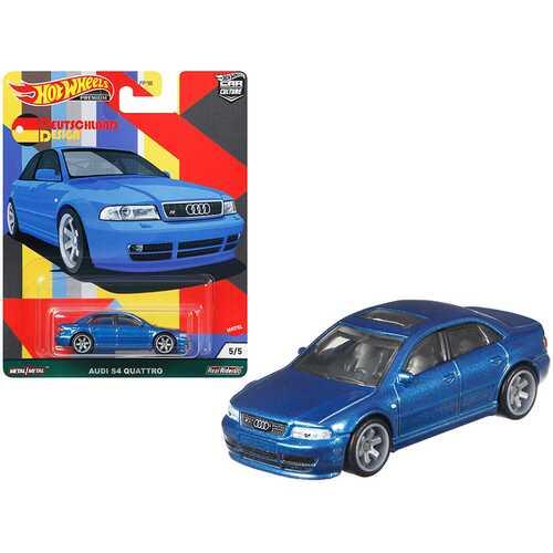 "Audi S4 Quattro with Sunroof Blue Metallic ""Deutschland Design"" Series Diecast Model Car by Hot Wheels"
