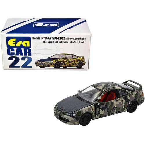 "Honda Integra Type-R DC2 Military Camouflage with Carbon Hood ""Special Edition"" 1/64 Diecast Model Car by Era Car"