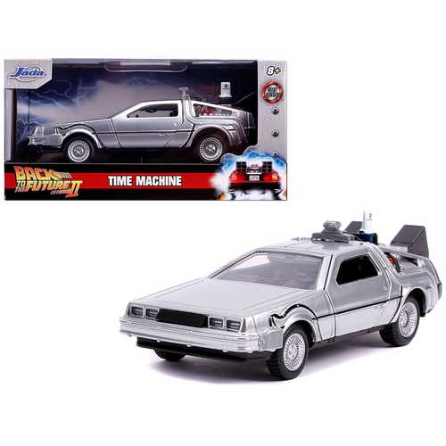 "DeLorean DMC (Time Machine) Silver ""Back to the Future Part II"" (1989) Movie ""Hollywood Rides"" Series 1/32 Diecast Model Car by Jada"