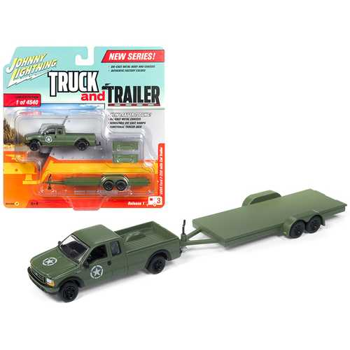 """2004 Ford F-250 Army Green with Car Trailer Limited Edition to 4540 pieces Worldwide """"Truck and Trailer"""" Series 1 1/64 Diecast Model Car by Johnny Lightning"""