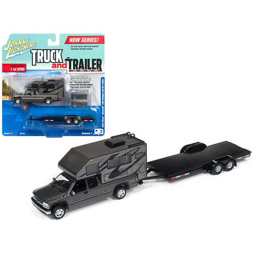 """2002 Chevrolet Silverado Gunmetal Metallic with Camper and Car Trailer Limited Edition to 4720 pieces Worldwide \""""Truck and Trailer\"""" Series 1 1/64 Diecast Model Car by Johnny Lightning"""