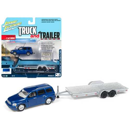 """2006 Chevrolet HHR Daytona Blue with Chrome Open Car Trailer Limited Edition to 3,604 pieces Worldwide """"Truck and Trailer"""" Series 3 1/64 Diecast Model Car by Johnny Lightning"""