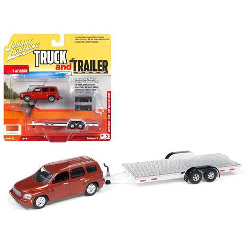 """2006 Chevrolet HHR Daytona Metallic Orange with Chrome Open Car Trailer Limited Edition to 3,604 pieces Worldwide """"Truck and Trailer"""" Series 3 1/64 Diecast Model Car by Johnny Lightning"""