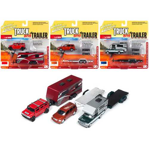 """Truck and Trailer"" Series 3 Set B of 3 Cars 1/64 Diecast Model Cars by Johnny Lightning"
