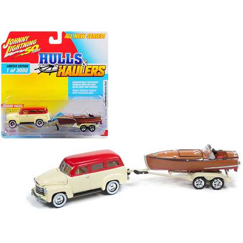 """1950 Chevrolet Suburban Ivory Cream and Red Top with Vintage Wooden Speedster Boat Limited Edition to 3,000 pieces Worldwide """"Hulls & Haulers"""" Series 1 1/64 Diecast Model Car by Johnny Lightning"""