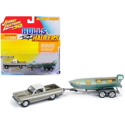 "1965 Ford Ranchero Honey Gold with Cream Top (Weathered) with Vintage Fishing Boat Limited Edition to 3,000 pieces Worldwide ""Hulls & Haulers"" Series 1 1/64 Diecast Model Car by Johnny Lightning"