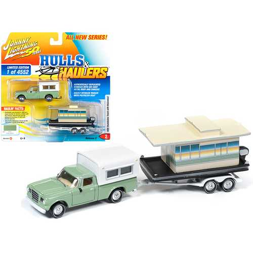 "1960 Studebaker Pickup Truck with Camper Shell Oasis Green with Houseboat Limited Edition to 4,552 pieces Worldwide ""Hulls & Haulers"" Series 2 ""Johnny Lightning 50th Anniversary"" 1/64 Die"