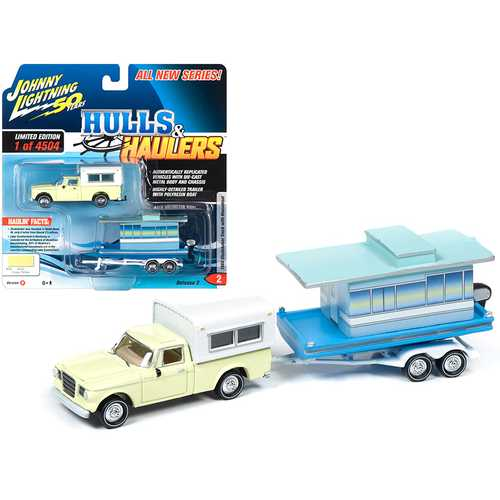 "1960 Studebaker Pickup Truck with Camper Shell Jonquil Yellow with Houseboat Limited Edition to 4,504 pieces Worldwide ""Hulls & Haulers"" Series 2 ""Johnny Lightning 50th Anniversary"" 1/64"