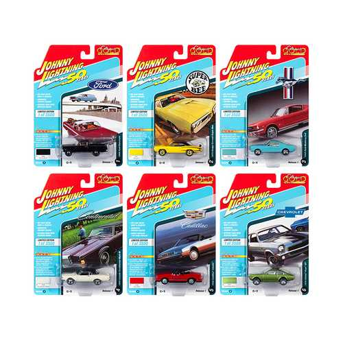 """Classic Gold"" 2019 Release 1, Set A of 6 Cars 1/64 Diecast Models by Johnny Lightning"